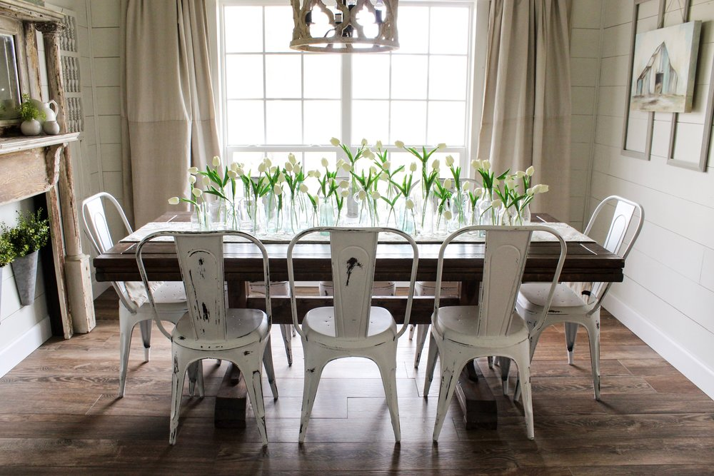 CottonStem.com dining room farmhouse table shiplap metal chairs spring decor.jpg