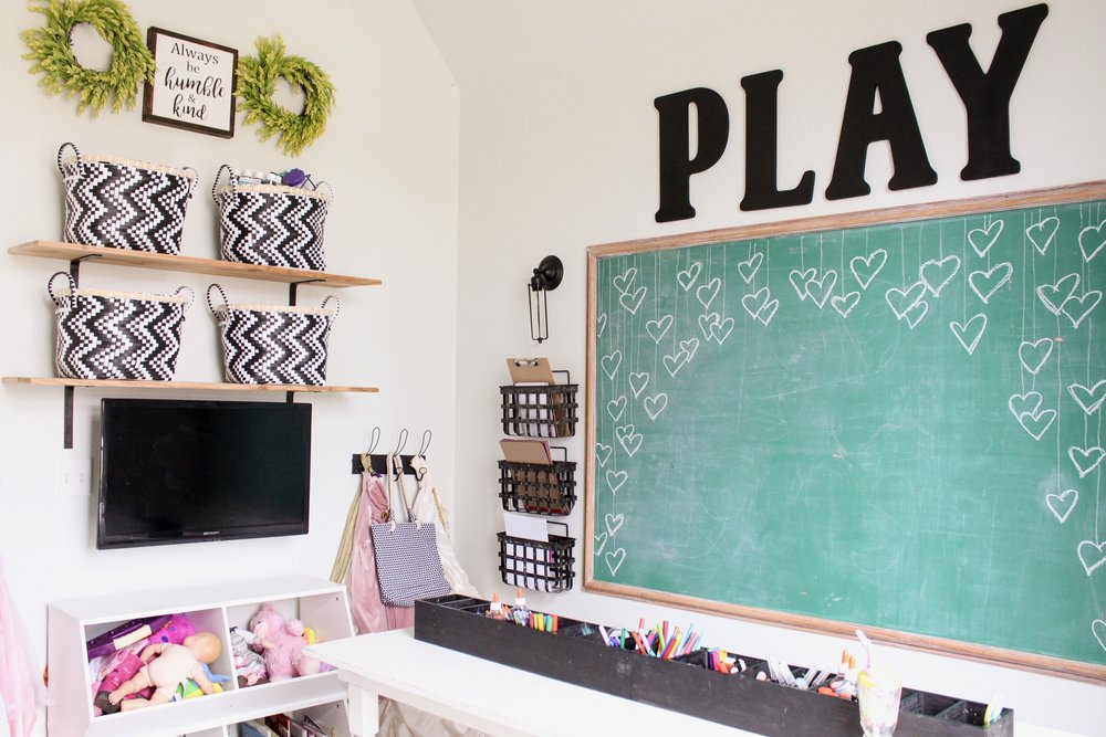CottonStem.com modern farmhouse playroom open shelves black and white decor.jpeg