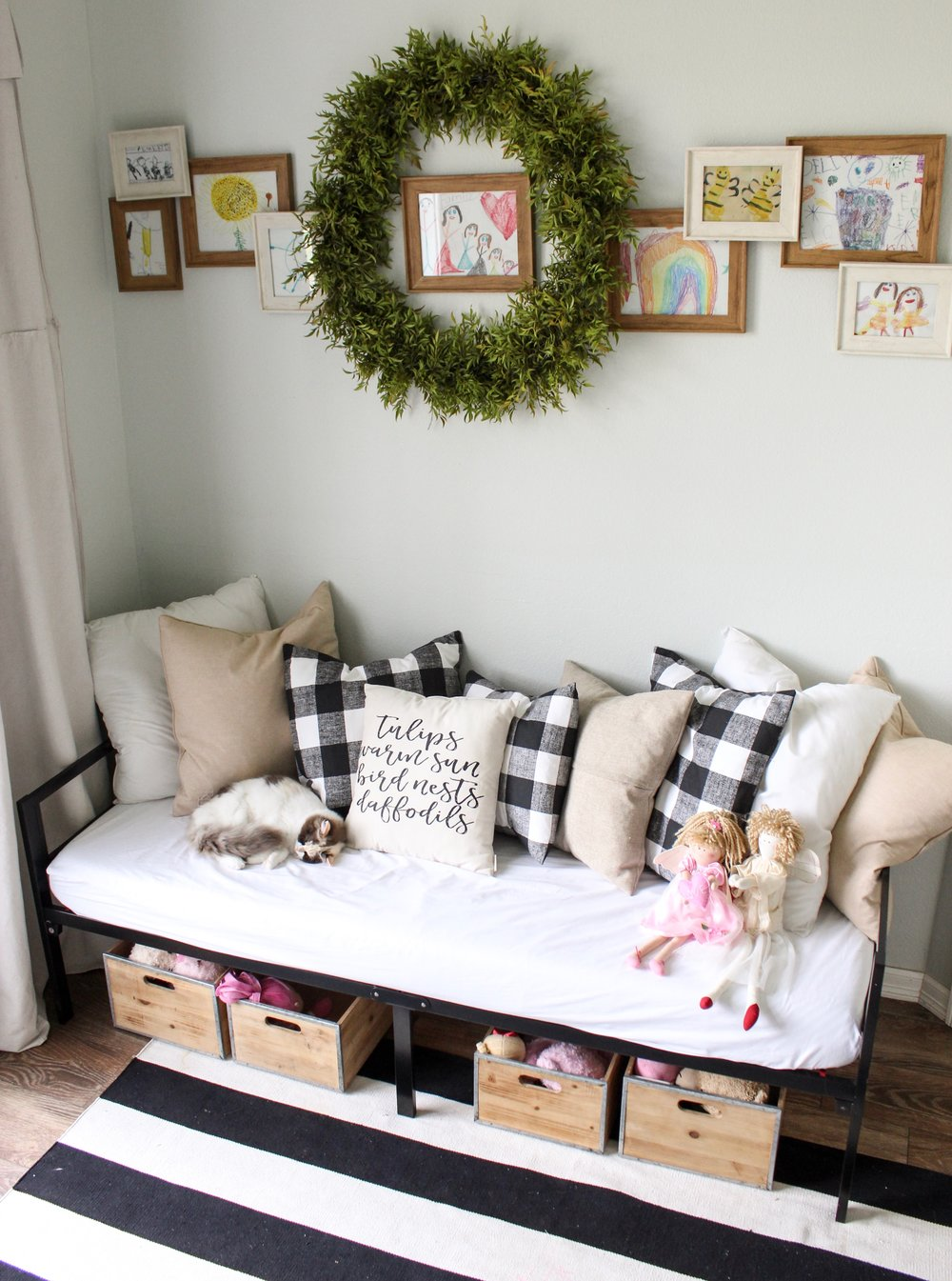 CottonStem.com farmhouse playroom daybed black and white kids drawings.jpeg