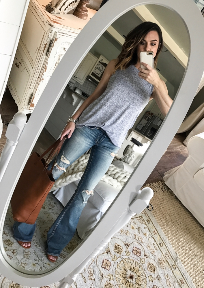 Cotton Stem Blog capsule wardrobe denim flares grey tank