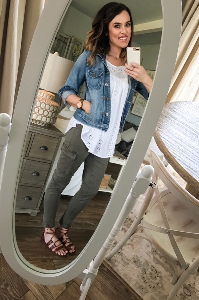 Cotton Stem Blog capsule wardrobe denim jacket army green pants