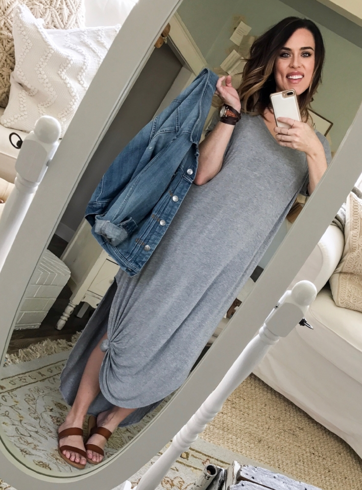 Cotton Stem Blog capsule wardrobe denim jacket grey shirt dress