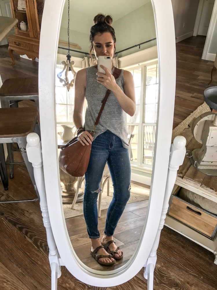 Cotton Stem Blog capsule wardrobe distressed denim crossbody bag