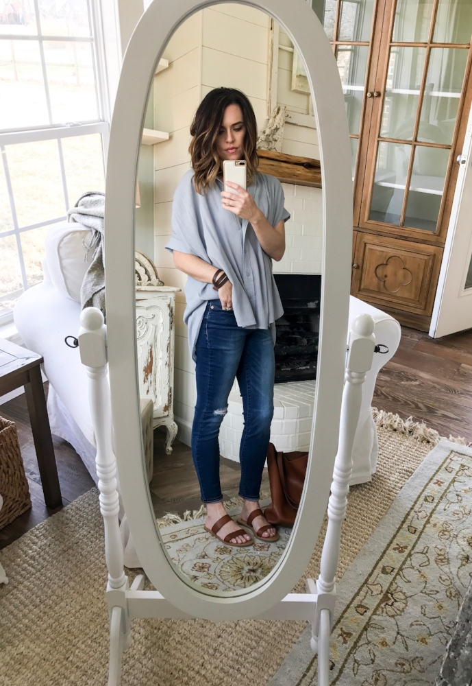 Cotton Stem Blog capsule wardrobe ideas distressed denim flowy button down