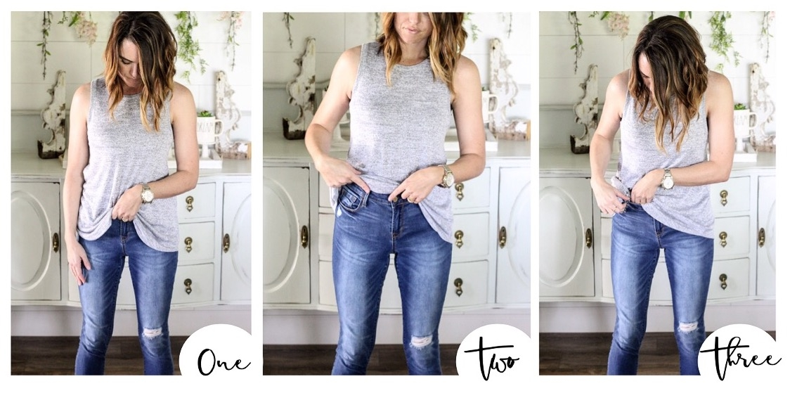 52327be576 ONE: Grab and bunch up the very center of your shirt. (*Note: this  technique will really only work with longer tops that are just a bit flowy  or loose).
