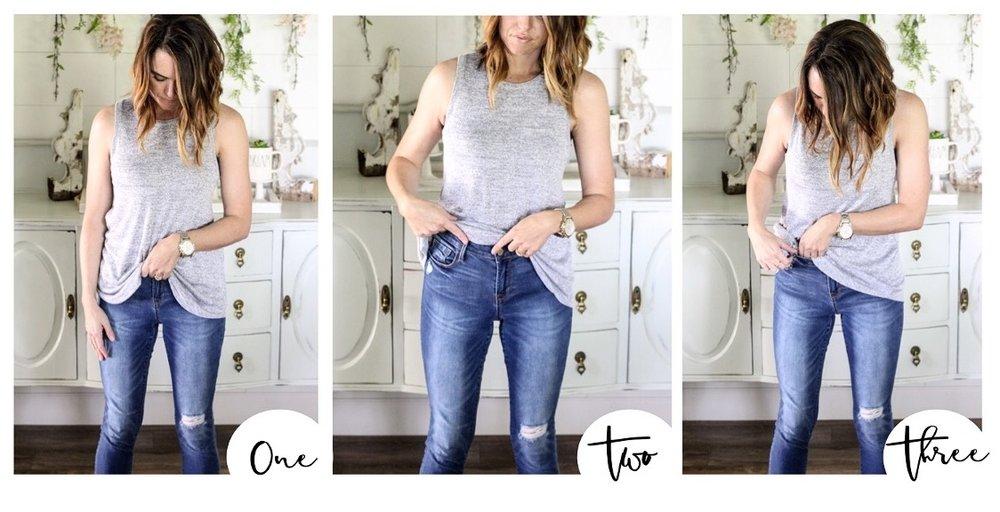 CottonStem.com how to front tuck shirt mom pooch