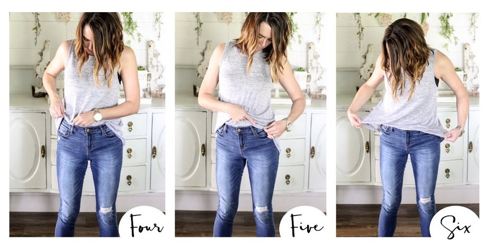 CottonStem.com front tuck loose flowy shirt how to mom tummy