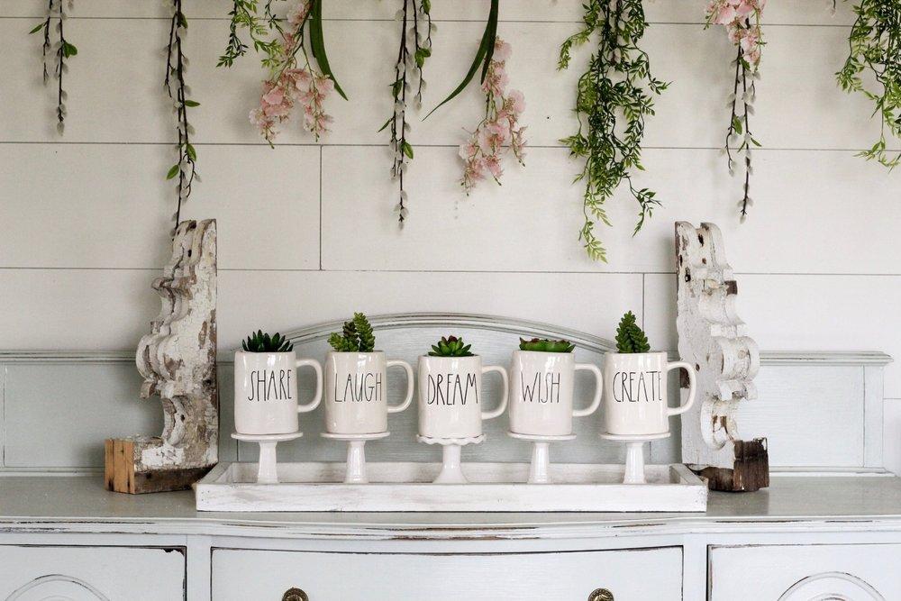 CottonStem.com spring decor rae dunn mugs hanging flowers farmhouse decor