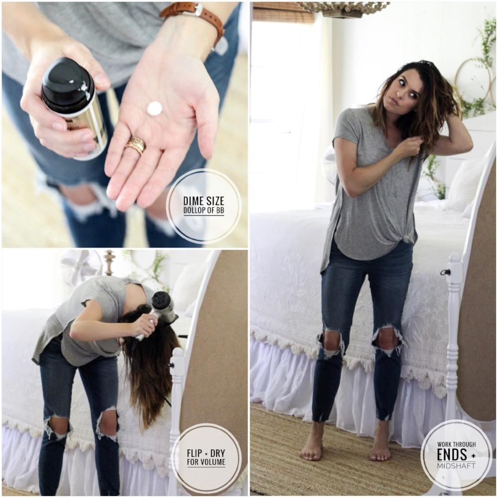 CottonStem.com long bob hair tutorial bb cream