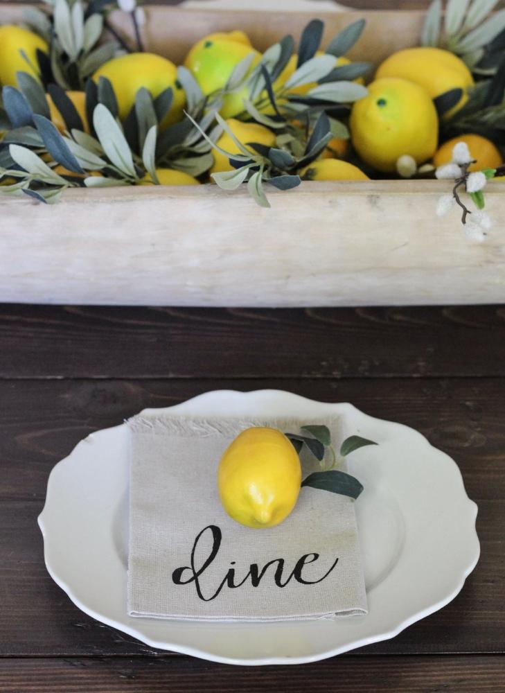 CottonStem.com farmhouse table place setting lemon decor