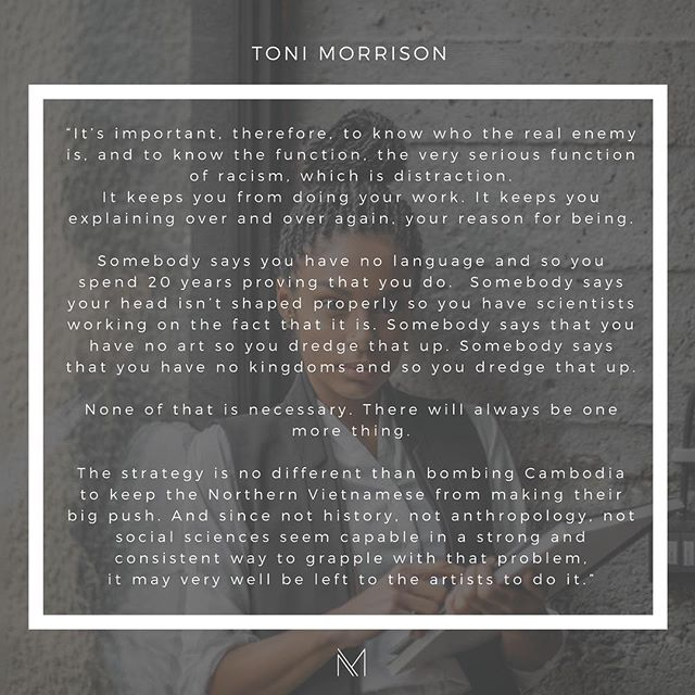As we fight injustice, let us not get distracted. Let us continue to shine our light brighter and bring people together. This is our job. This is why we are here. Let's stay true to our purpose. Our work as creatives, entrepreneurs, artists, and storytellers is more important than ever now. . . . . #entrepreneur #creatives #tonimorrison #artist #freelance #femaleentrepreneur #creativepreneur #workstyle #themoderna #charlottesville