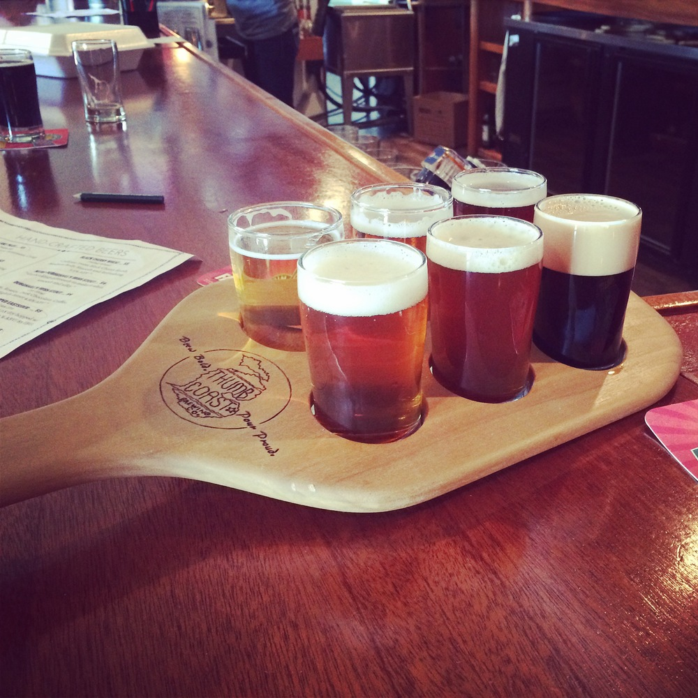 Our delicious sampler: Lake Pilot Cream Ale, Skinny Dipper Golden Ale, Right Hand Red, DubhGhaill's Irish Stout on nitro, Crusade of the Imperialist DIPA, Double Dry Hopped Eastsider IPA