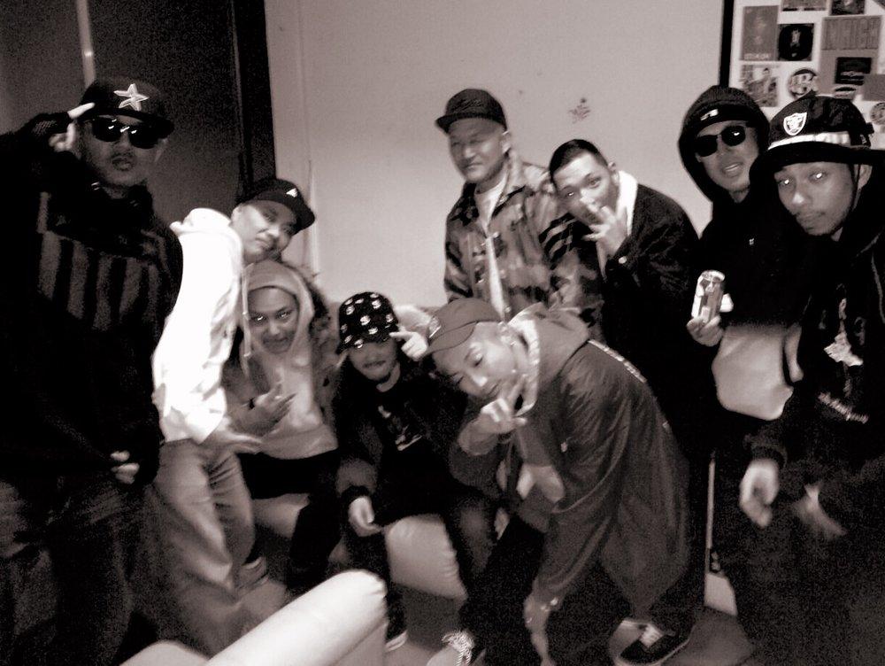L to R: JOE IRON, DJ Oasis, NIPPS, Nagomi, KLOOZ, CQ, ROOZ, DJ Masterkey