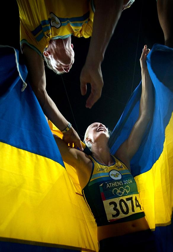 Carolina Klüft tar OS-guld. Aten, Grekland