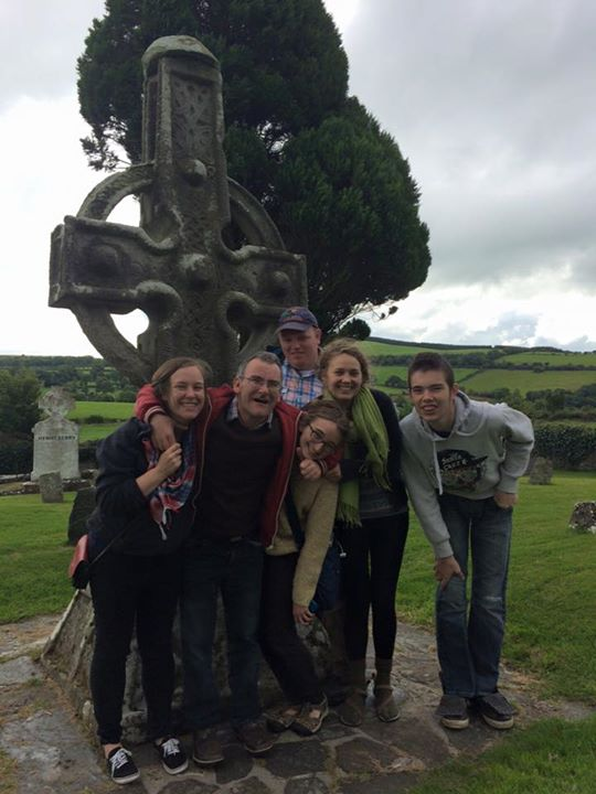Jessica (first from left) and Kate (second from right) posing with L'Arche Kilkenny in Ireland