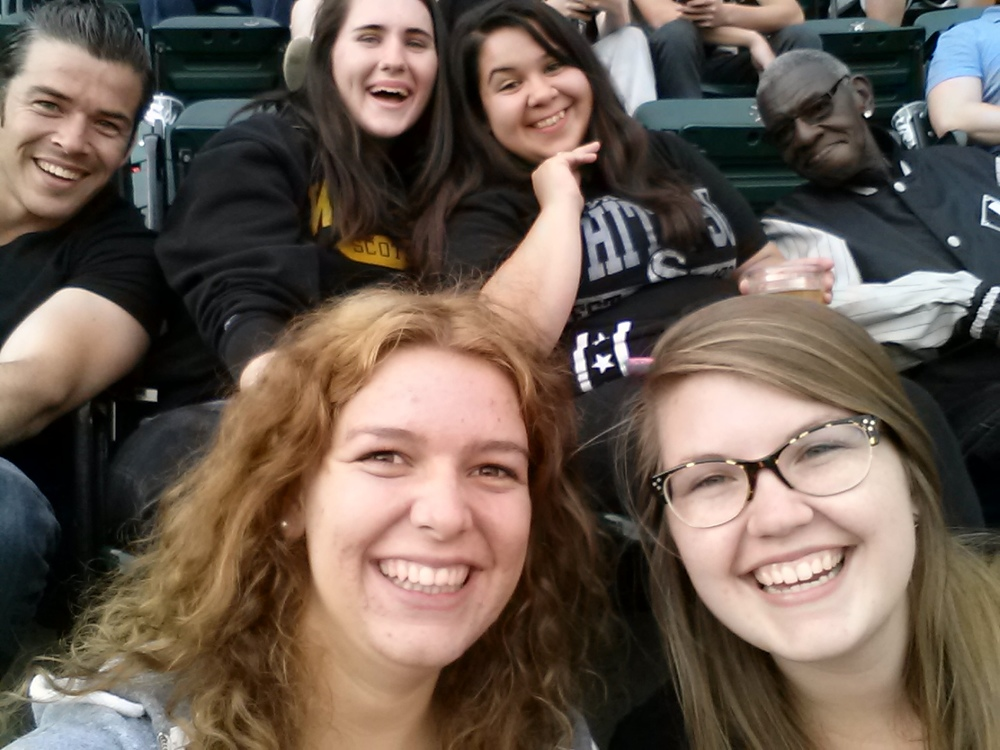 Matias, Evangeline, Becca, Anna Maria, Molly, and Elbert at the Sox Game