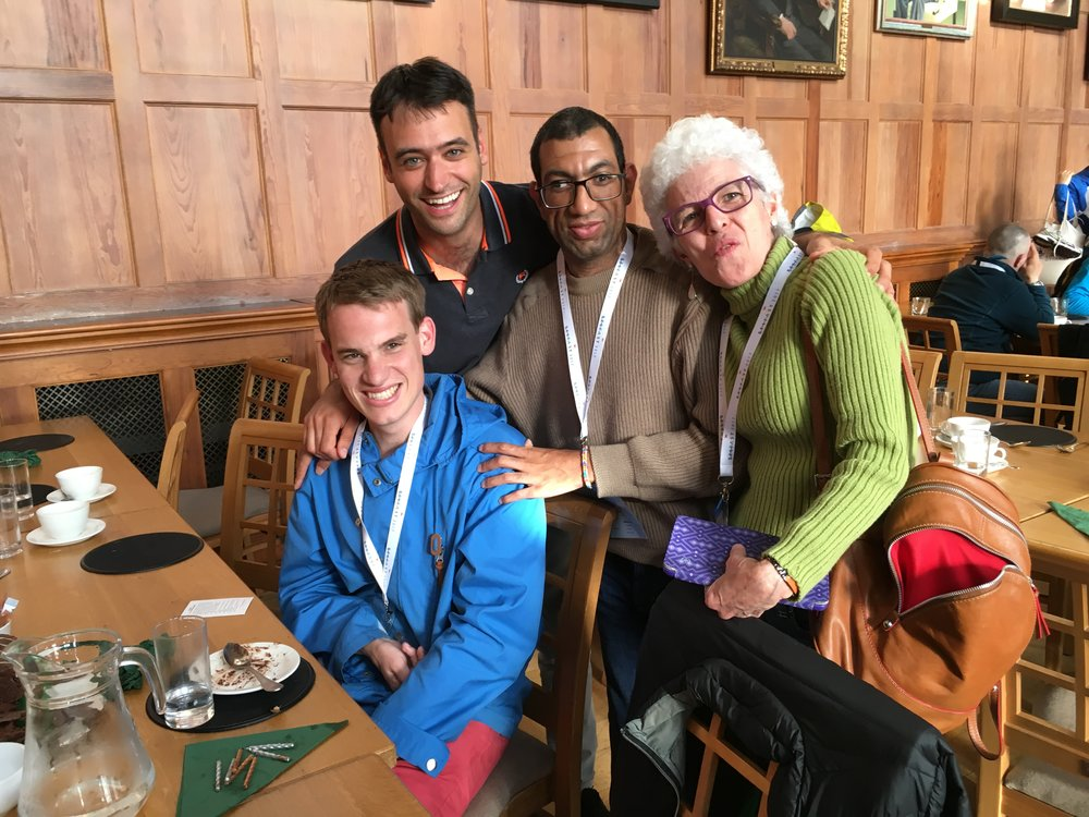 Anders and Luca with new friends in Belfast at the L'Arche International Assembly this summer