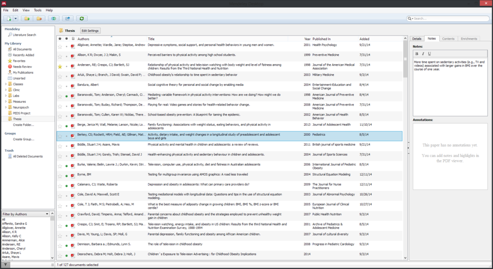 Screenshot of Mendeley on my desktop