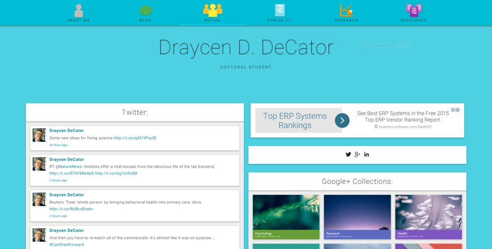 Screenshot of the new layout that's being tested for my social page