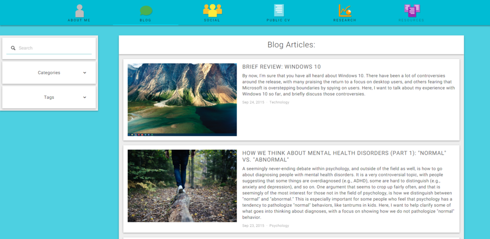 A snapshot of the new layout on my blog page