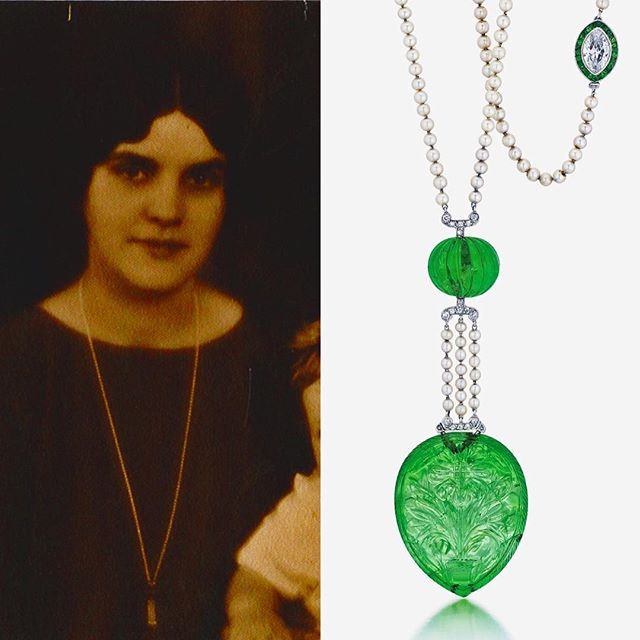 "This Edwardian carved Emerald, Natural Pearl and Diamond sautoir necklace strung on Platinum is a historical favorite jewel handled by Joseph DuMouchelle. Rich with Provenance from the Scripps-Booth Family of Detroit. Carolyn-Farr Booth, on the left wearing the sautoir, of the publishing ""Scripps"" Family and the Cranbrook Institute. Her husband Henry Scripps-Booth was the grandson of the broadcast scion, artist and automotive engineer. The family was also the founder of Cranbrook Institute. . . . . . . . . . . . . . #fineemeralds #carvedemeralds #colombianemerald #colombianemeralds #edwardianjewels #naturalpearls #antiquejewelry #naturalpearlsautoir #sautoir #cranbrook #detroit #edwardian #edwardianjewelry #detroitjewels #bloomfieldhills #cranbrook #scrippsbooth #artdeco #exquisitejewels #oneofakind #beautifuljewelry #provenance #michigan #historicaljewelry"