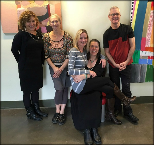 Most of the participating artists: Kimberly Rowe, Joyce Conlon, me, Liz, and Bill Russell.