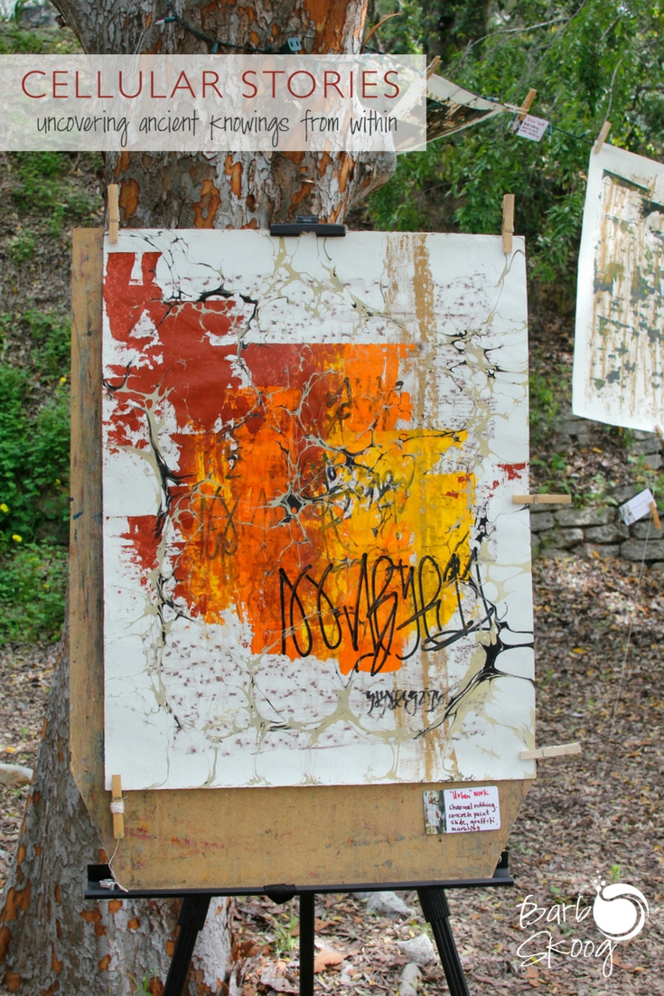 "One of my favorite pieces. ""Urban"" work. Paint slides, concrete rubbings, graffiti, marbling."