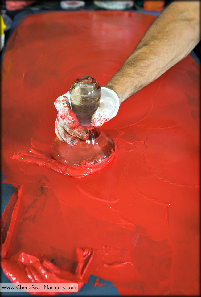 Dan also makes red and black acrylic paints for the Acrylic Marbling Class.