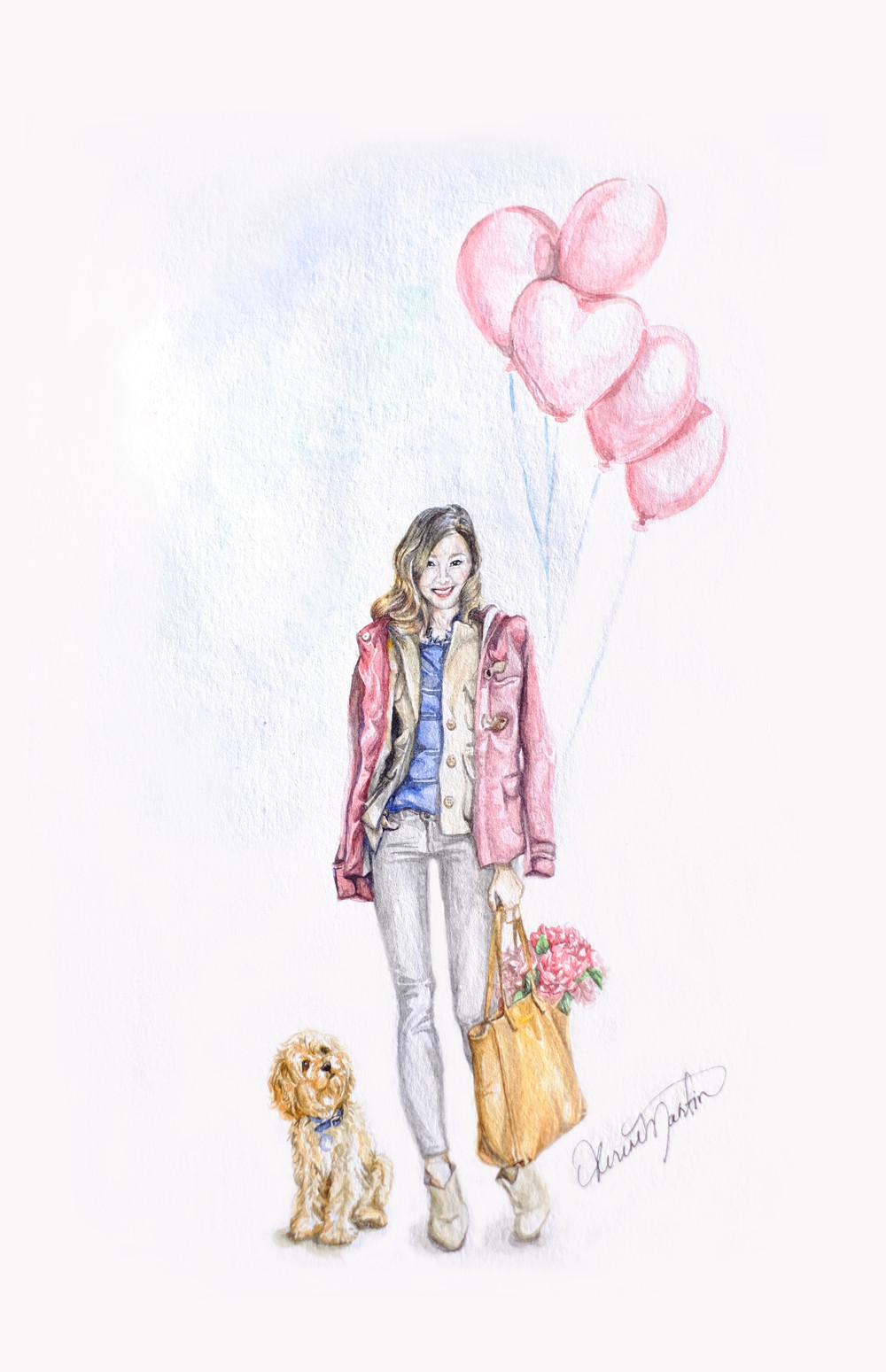 Happy Valentine's Project from D.P. and her cockapoo puppy, Noodle! D.P. is wearing pieces from her Capsule Wardrobe and carrying a Cuyana leather tote. #lessismore