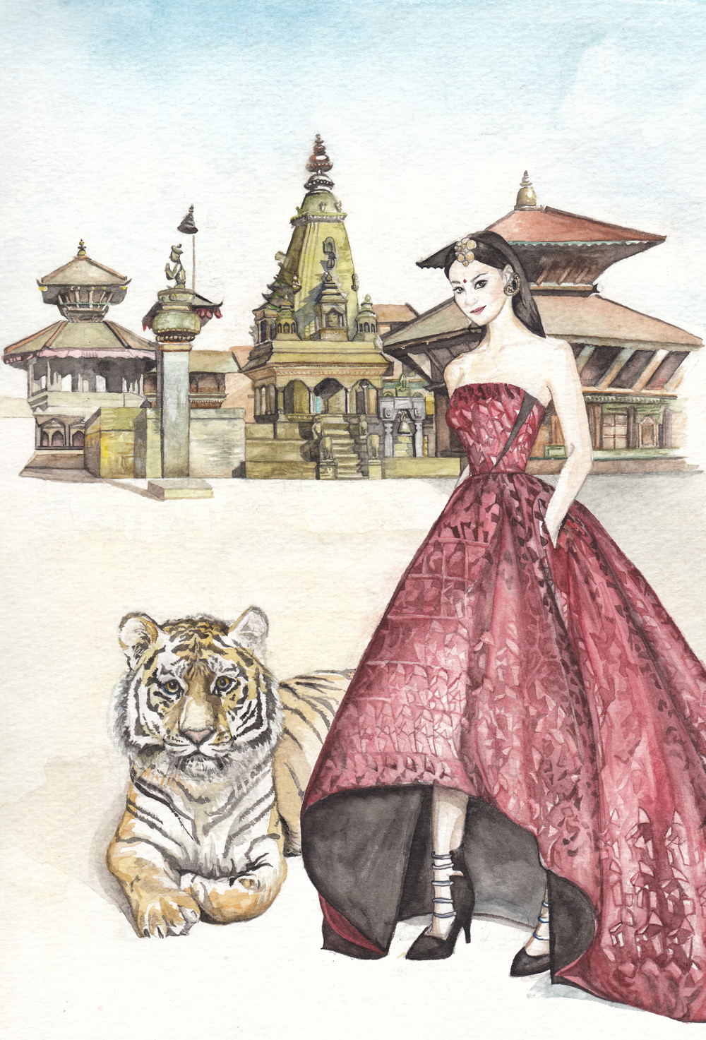 A Nepalese girl wearing Prabal Gurung's Resort 2015 gown with a native tiger from Nepal standing in front of the Vatsala Durga temple in Bhaktapur's Square