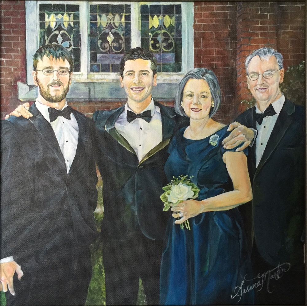 The Martins (on the day I became a Martin :) )  I painted this in Dec. 2014 as my Christmas gift to my Mother and Father in-law Left to right:  Sheppard Martin (Blake's older brother), Blake (my husband), Jamie and Steve Martin (my in-laws)