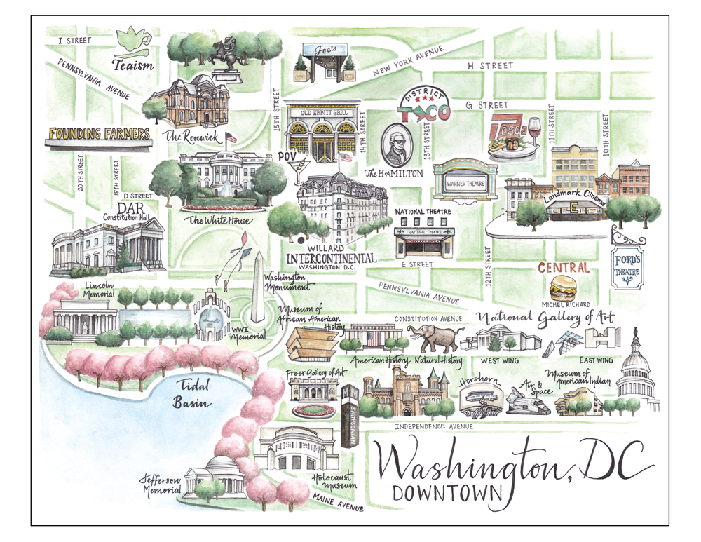 Downtown Washington DC Map Serena Martin Design
