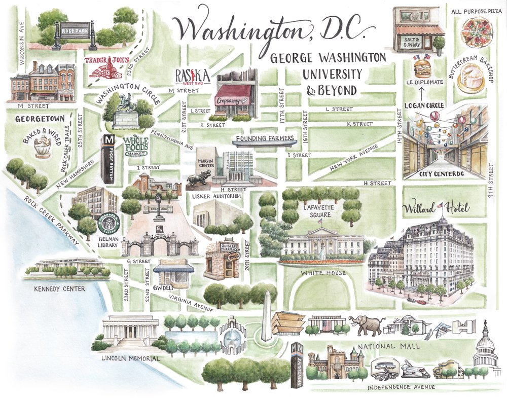 Washington DC Map - George Washington University and Beyond — Serena ...