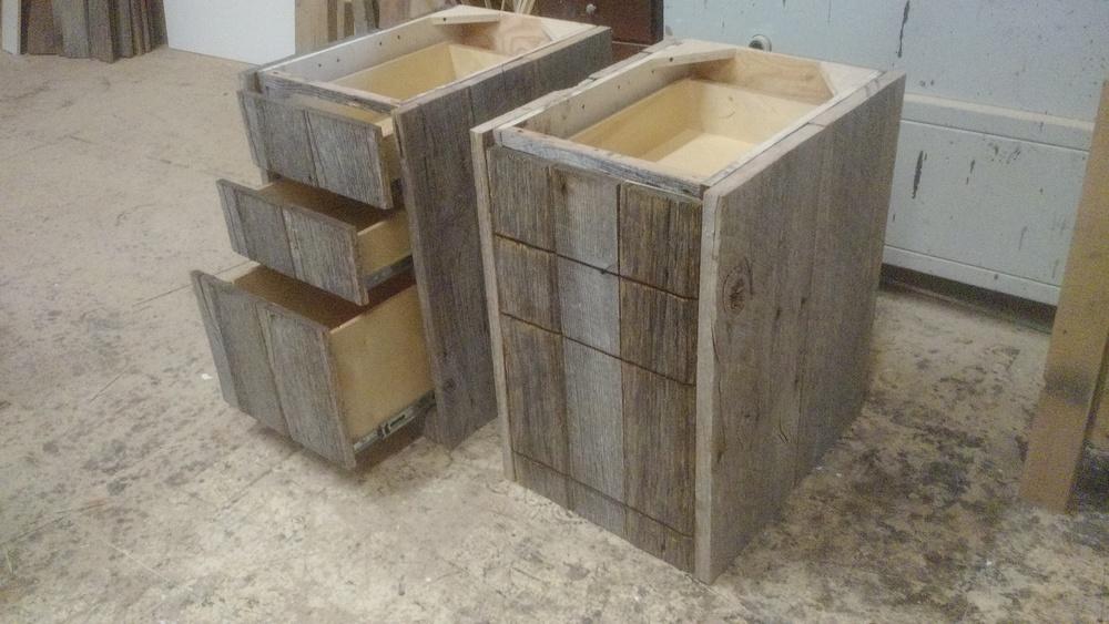 Reclaimed oak desk drawers.
