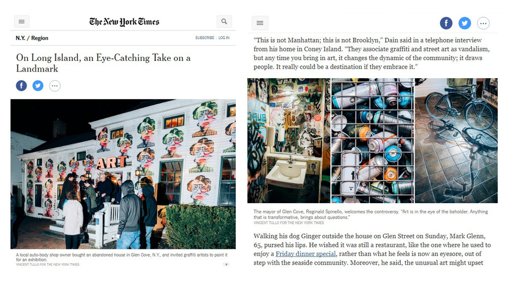 "SASHALYNILLO's work was displayed in a street art gallery show called ""First City Project"". Following the success of the show, her art (upper right) was featured in the New York Times. For full article, click image above."