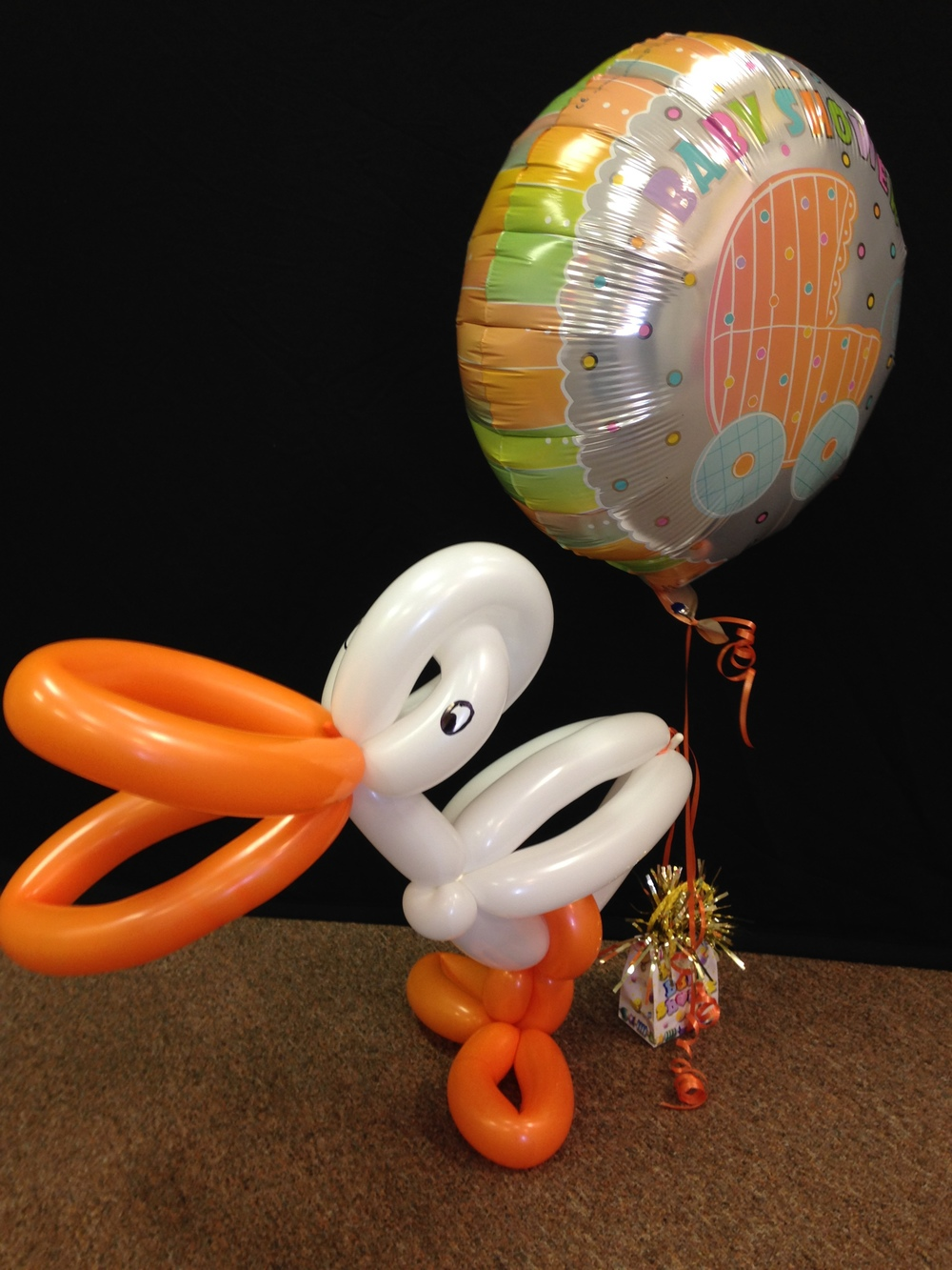 Personalized custom baby shower stork party balloon