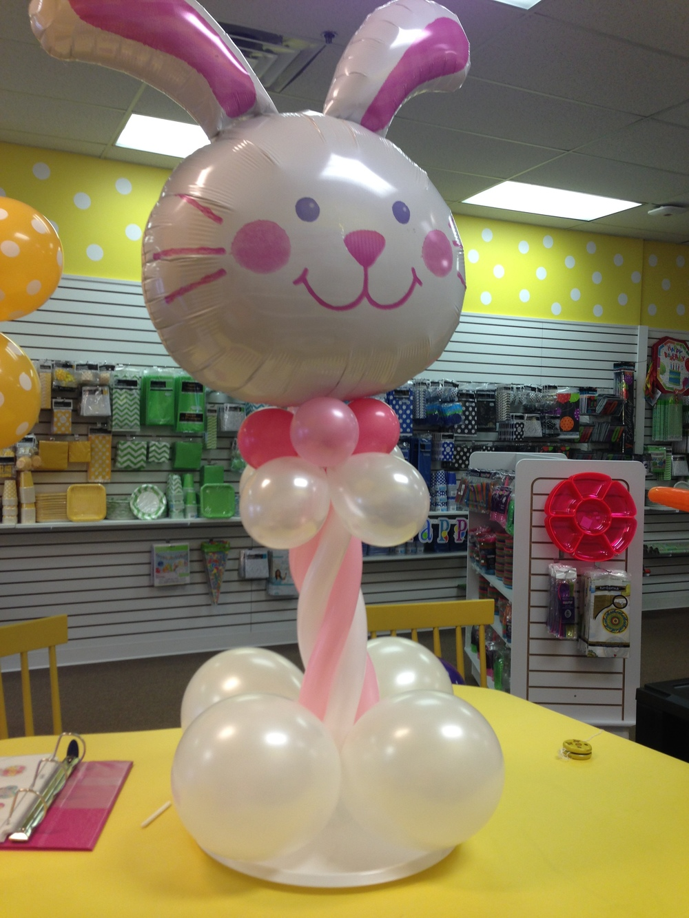 Personalized custom bunny rabbit party balloon centerpiece