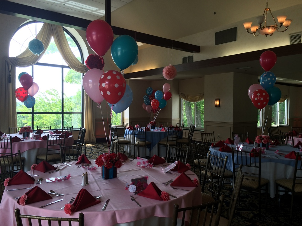 Personalized custom polka dot balloon centerpiece