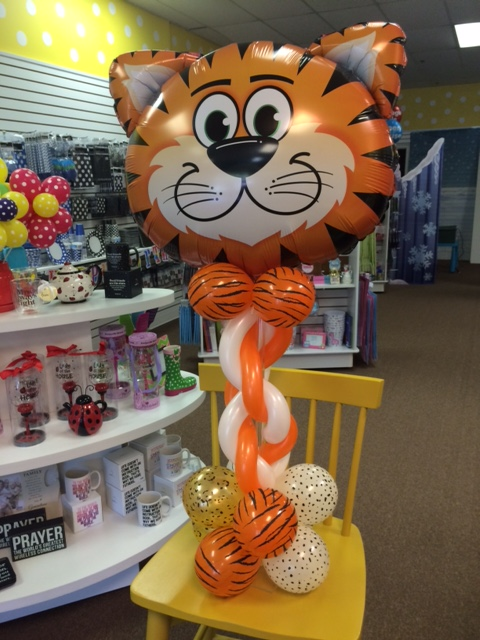 Personalized custom tiger kitty cat party balloon centerpiece