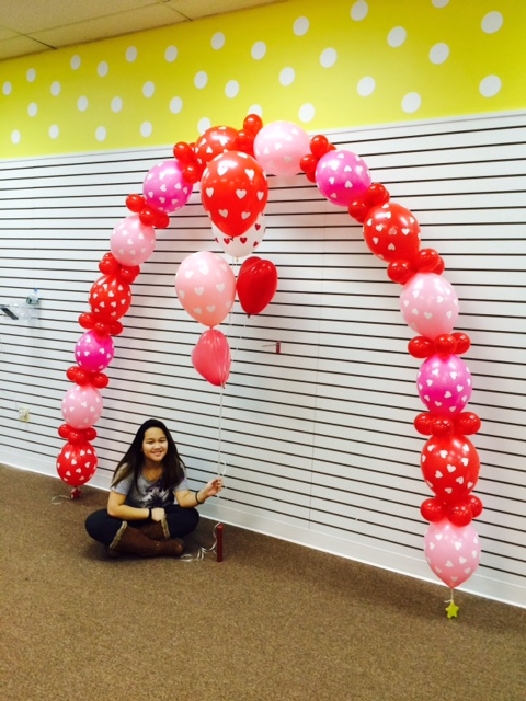 Personalized custom polka dot party balloon arch