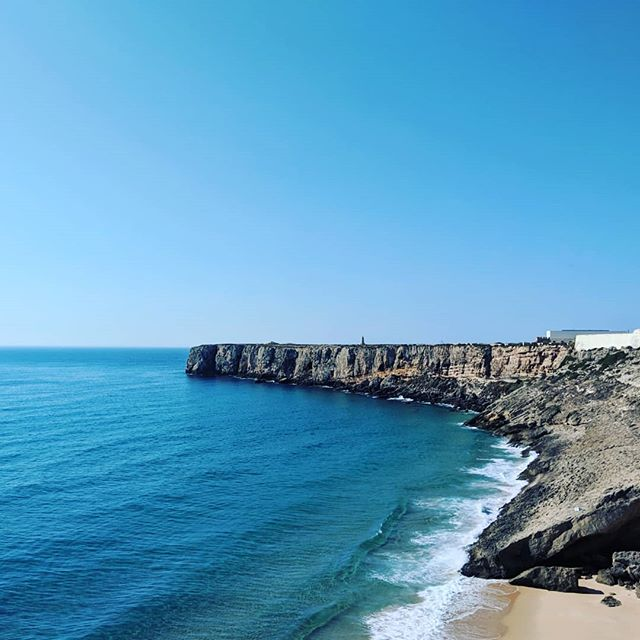 "We enjoyed the Algarve and beaches of Portugal so much! The seafood, the white towns, the cliffs, the end of ""the world"" and the sea monsters beyond. #justcheungingalong #thealgarve #praiadaarrifana #sagres #portugal with my @asianninja32"