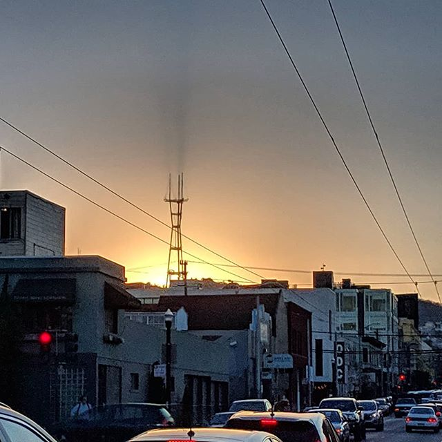 Sutro casting shadows acorss the San Francisco sky at dusk. #fromwhereibike #sutro #urbanlife #sanfrancisco #skyporn #happenseveryday