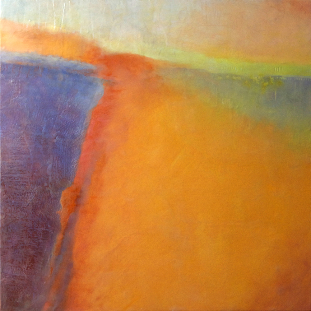 Emerging 22   48 x 48 x 3  Encaustic and Mixed Media on Panel
