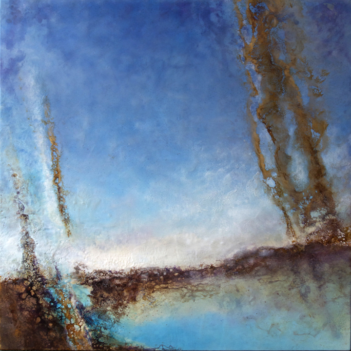 Emerging 21   48 x 48 x 3  Encaustic and Mixed Media on Panel