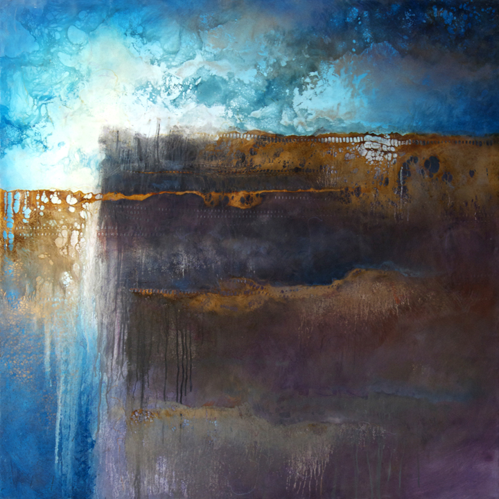 Emerging 16   48 x 48 x 3  Encaustic and Mixed Media on Panel
