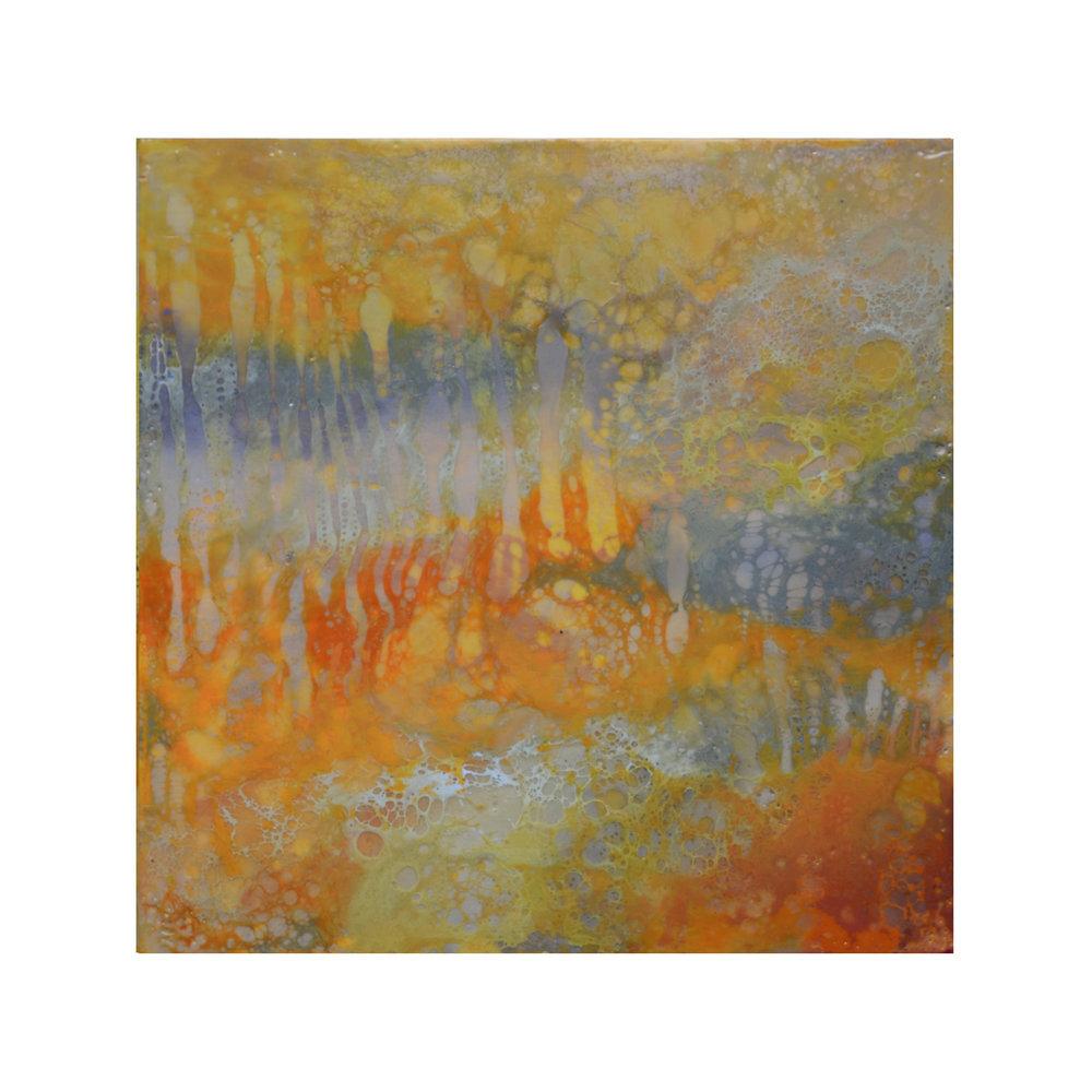 Amber Light 2   12 x 12  Encaustic on Panel  $300