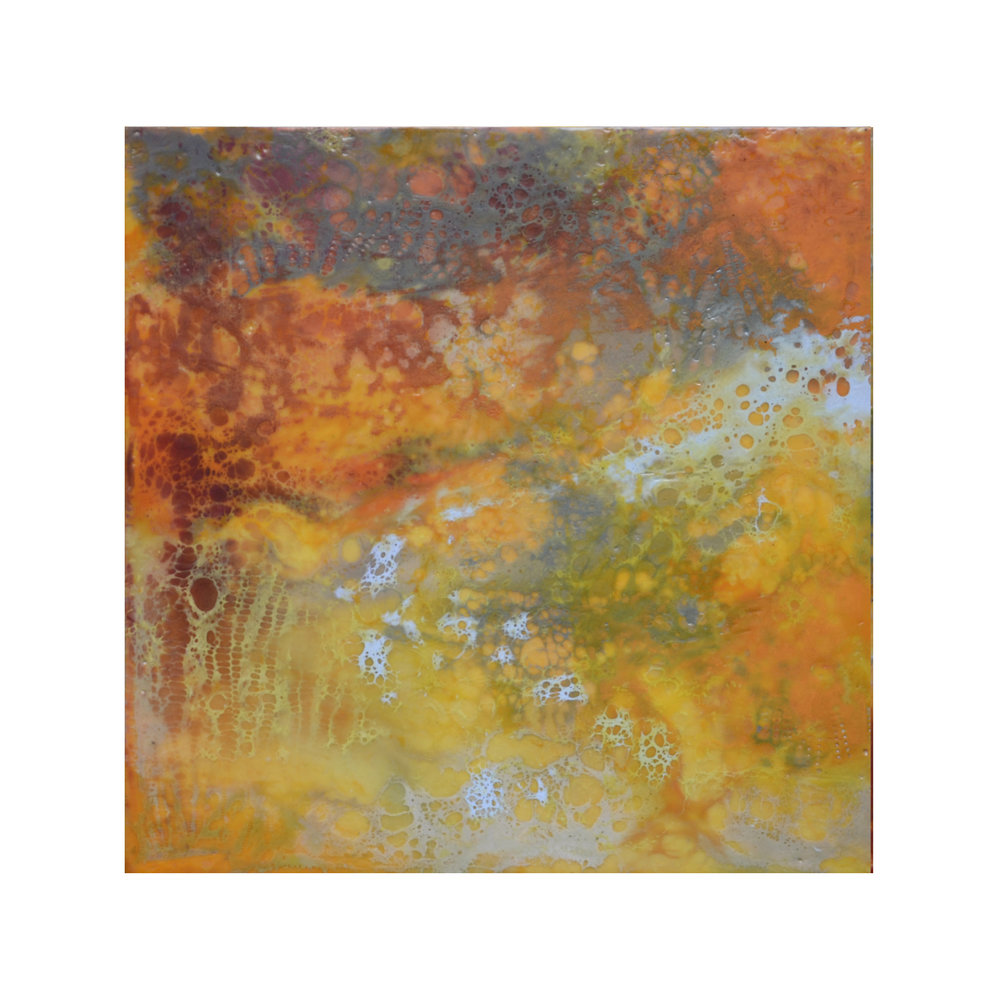 Amber Light 3   12 x 12  Encaustic on Panel