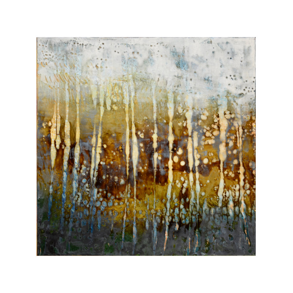 Aspens 2   12 x 12  Encaustic on Panel