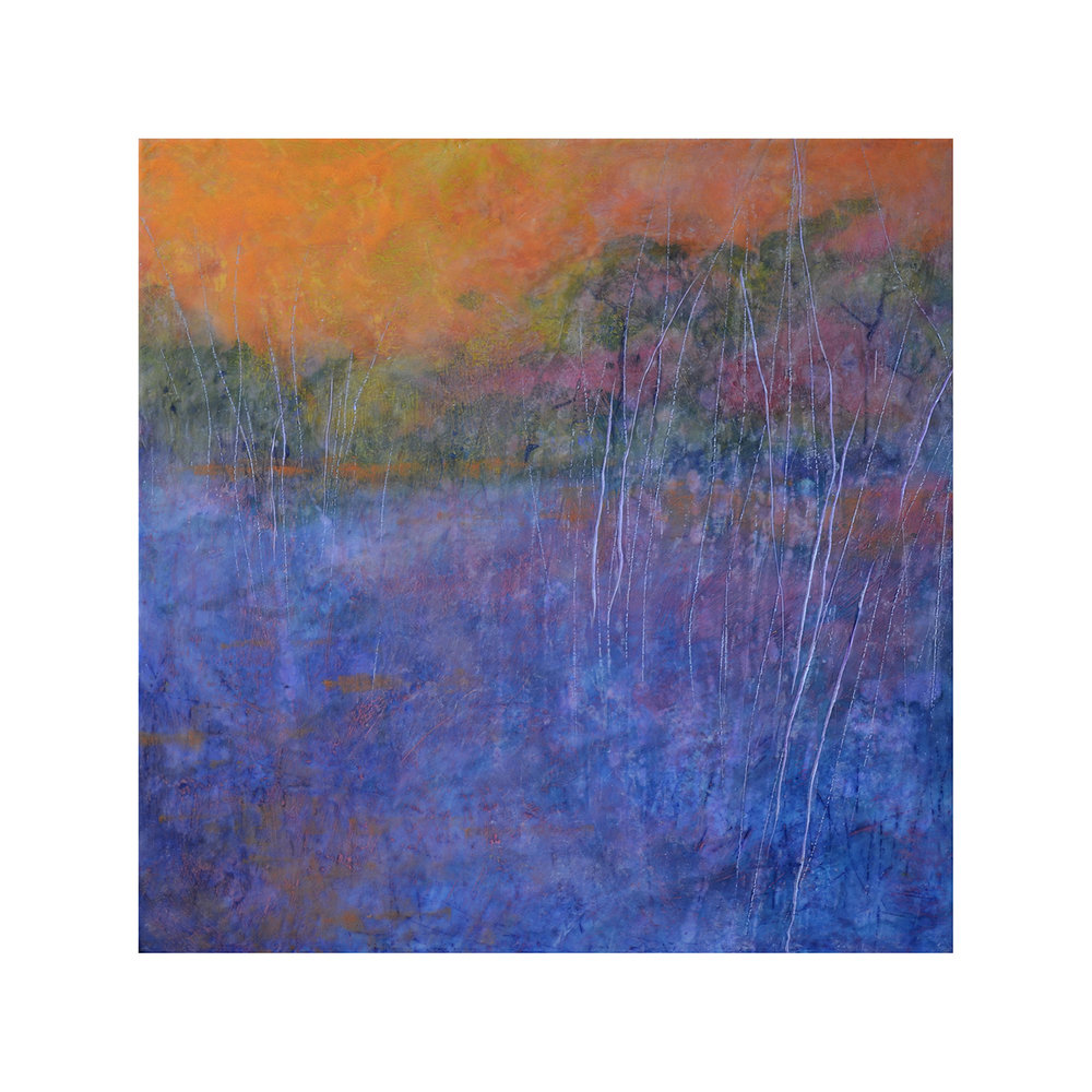 Evening Comes 3   24 x 24  Encaustic on Panel  $1000