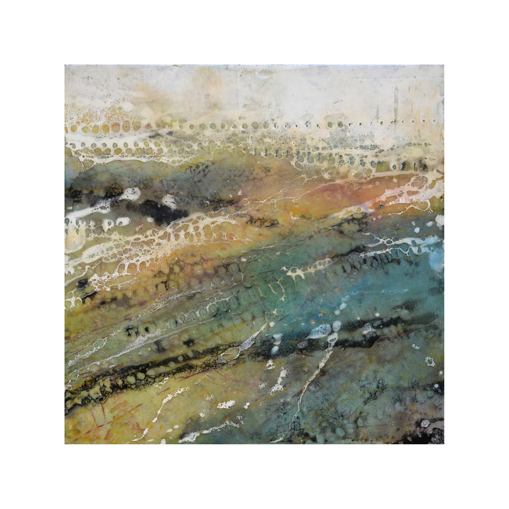 Into the Warm Cool Depths   12 x 12  Encaustic on Panel  $300